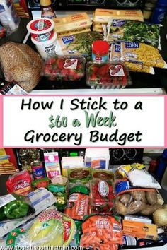 I Stick to a 60 a Week Grocery Budget Do you have trouble with overspending on groceries each week Heres how I stick to a 60 a week grocery budget including frugal recipe. Save Money On Groceries, Ways To Save Money, Money Tips, Money Saving Tips, Saving Ideas, Groceries Budget, Money Budget, Money Savers, Healthy Groceries