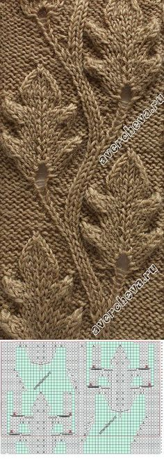 Knitting Patterns Stitches Pattern with knitting needles *** oak leaves *** Knitting Paterns, Cable Knitting, Knitting Charts, Knitting Needles, Knitting Projects, Craft Patterns, Knit Patterns, Stitch Patterns, Knit Crochet