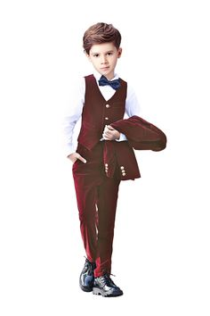 Yanlu 5 Piece Boys Velvet Suits Boy Kids Formal Dress Slim Fit Suit For Weddings Size 12 Burgundy ** You can find more details by visiting the image link. (This is an affiliate link) Boys Suit Sets, Boys Suits, Boys Wedding Suits, Velvet Suit, Blazer Vest, Pant Shirt, Formal Dresses, Wedding Dresses, Kids Boys