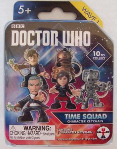 Underground Toys Doctor Who Time Squad One Character Keychain Ages 5+ (Blind) Wave 1  The package states there are 10 to collect in Wave 1.  This package is unopened and I don't know which of the one that is inside.  There is only one keychain inside the package.  The back of the package shows all 10 characters in wave 1, but you will be getting only one of these characters.  See all pictures.  Small parts.  Ages 5+