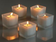 Square Votive Holders - Clear Glass, Red and Frosted Square votive holders