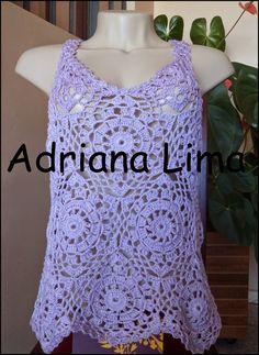 Oi meninas, tudo bem!!!   Fiz essa blusinha lilás e adorei o resultado!!!  Ficou bem fresquinha e combina muito com jeans.  Ela é bem fácil ...