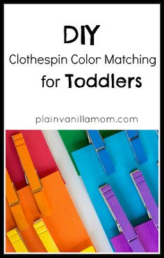 A simple DIY Clothespin Color Matching Game for Toddlers - so they can get their fingers pinched!!! I don't think this would be a quiet activity!!!