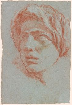 Giovanni Battista Tiepolo Head of a Man Wearing a Turban Red chalk, heightened with white chalk, on blue paper. 12 x 8 inches x 209 mm) Portrait Sketches, Portrait Art, Drawing Sketches, Art Drawings, Portraits, Figure Drawing, Painting & Drawing, Trois Crayons, Figurative Kunst