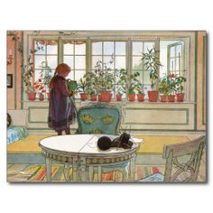 Carl Larsson- love him. wish I lived in a Carl Larsson painting. Remember this book? Carl Larsson, Window Art, Window Sill, Window Poster, Room Window, Window Ideas, Bay Window, Vintage Illustration, Swedish Interiors