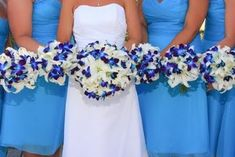White Lily and Blue Orchid Bridal Bouquet