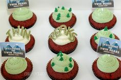 Red Velvet cupcakes with Twin Peaks decoration.
