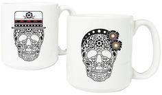 Sugar Skull Mug White Cathy's Concepts. His and her coffee mug with sugar skull design. More skulls at http://livelikearockstar.us/?page_id=512