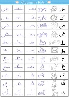 Arabic Alphabet Letters, Arabic Alphabet For Kids, Alphabet Tracing Worksheets, Worksheets For Kids, Arabic Handwriting, Islam, Arabic Lessons, Arabic Language, Learning Arabic