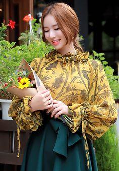 StyleOnme_Paisley Print Chiffon Ruffle Blouse #yellow #floral #ruffle #blouse #koreanfashion #kstyle #kfashion #falltrend #autumnlook