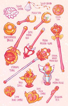 Sailor Moon henshin brooches and weapons.