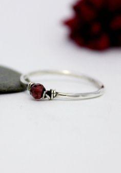 Cute Garnet Simple Silver Ring Statement Ring by rosajuri on Etsy