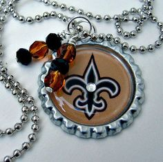 NFL New Orleans Saints Football Necklace by SportsJewelryStudio.  etsy.com/shop/sportsjewelrystudio.  $10.00