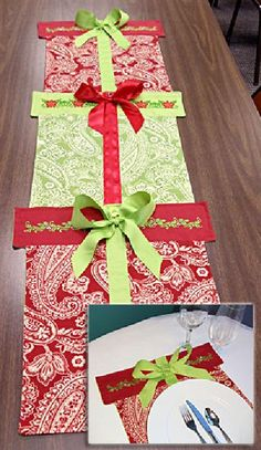 Cute idea for a table runner or placemats that look like stacked gift  boxes presents Christmas diy runner