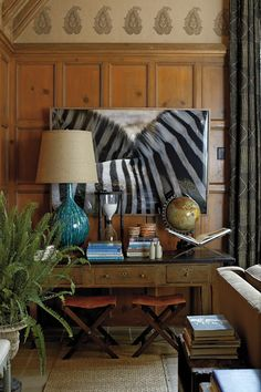 The Style Files: Nathan Turner. Fabulous zebra photo sets off the whole more traditional living room space. Decoration Inspiration, Interior Inspiration, Mantel Styling, Prop Styling, British Colonial Decor, Decoration Originale, Vignettes, Home Remodeling, Home Accessories