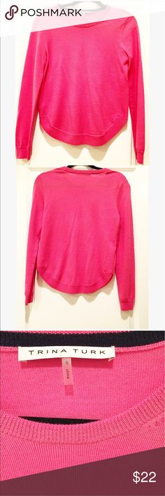 Trina Turk Pink Sweater Sz. Small Love this pink sweater by Trina Turk.  It's fun round edge adds a little playfulness to this everyday sweater!  Size Small. 💕💕💕💕 Trina Turk Sweaters Crew & Scoop Necks