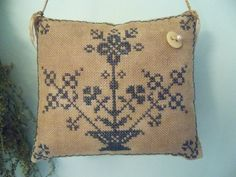 Primitive Cross Stitch Abigail Moody Pinkeep by simplethymeprims, $61.00