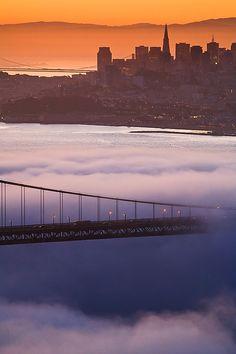 Foggy Sunrise over Golden Gate bridge, San Francisco, California