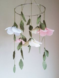 Anemone Flowers and Leaves Felt Baby Crib Mobile by ThreadandHeart