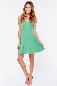 Cute Mint Dress - Skater Dress - Sleeveless Dress - $45.00