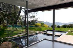 Richard Neutra Singleton Residence interior view pond