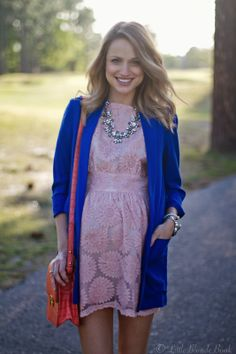 Taylor from Little Blonde Book is stunning in this floral frock & cobalt blue blazer and Versailles Crystal Necklace from Urban Peach Boutique.