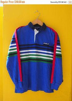 25% SALE Vintage Vtg 90's POLO Sport By Ralph Lauren Multicolour Neon Usa Hip Hop P Wing Stadium Polo Rugby Stripe Shirt Size M