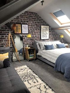 An exposed brick feature wall with rebel murals #kidsroomdecor