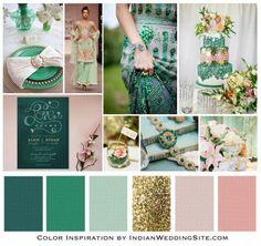 emerald jade blush indian wedding palette weddings Emerald, Jade and Blush Indian Wedding Color Inspiration Spring Wedding Colors, Spring Colors, Wedding Colours, Gold Wedding, Wedding Flowers, Trendy Wedding, Wedding Reception, Indian Reception, Wedding Venues