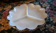 Vintage 3 Section Anchor Hocking Fire King White Milk Glass Serving Dish with Divided Scalloped Edge and Gold Trim -1945-1960 by GrandesTreasures on Etsy