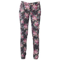 Multi coloured festival floral jeans found on Polyvore