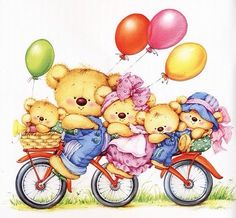 Teddy Bears - By: Marina Fedotova Bear Clipart, Cute Clipart, Illustration Mignonne, Cute Illustration, Cute Images, Cute Pictures, Art D'ours, Art Mignon, Blue Nose Friends