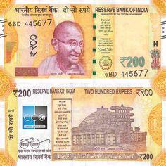 Sortie du nouveau billet 200 roupie indien depuis 2017. Côté face, on retrouve le visage du Mahâtma Gandhi. Côté pile, le grand Stûpa de Sanchi, représentant l'héritage culturel du Pays.