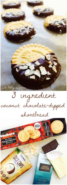 Just three delicious ingredients and you've got these easy but fabulous Coconut Chocolate-Dipped Shortbread cookies!