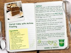 Carrot Cake with Activia Frosting
