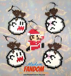 Mario Bros Christmas Ornaments, Set of 5, Christmas Decorations, Mario Bros Decor, Gamer Decor, 8 bit
