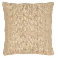 """An eco-friendly indoor/outdoor pillow that looks and feels like wool in a classic herringbone pattern and a goes-with-anything neutral hue? We'll take one for each room (and the porch!), please.   • 100% PET shell; 100% polyester fill.  • 22"""" x 22""""."""