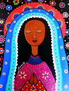 Folk Art Painting Mexican Virgin Guadalupe Portrait by prisarts, $199.00