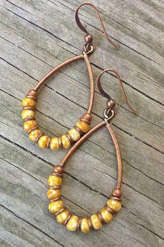 Mustard Yellow Earrings / Yellow Earrings / Copper Jewelry / Hoop Earrings…