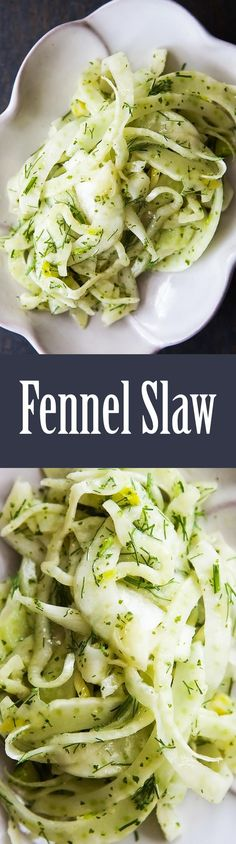 Fennel salad with thinly sliced fennel bulb and a fresh mint vinaigrette. Great with seafood! #vegan #healthy On SimplyRecipes.com