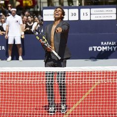 Lost his shirt but never his winning attitude! #RafaelNadal having a ball at the #TommyXNadal tennis tournament in NYC. by @tommyhilfiger