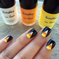 Candy Corn Nail Design for Halloween