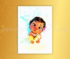 Little Moana Poster, Disney princess Moana watercolor print, South Pacific princess Moana, Girls room  decor idea, Nursery wall decor, T-108 by TRONYC on Etsy