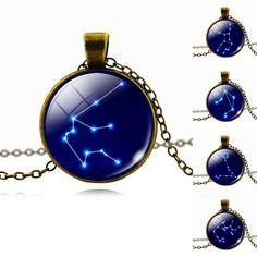 Fashion WOMEN MEN Cabochon Zodiac Pendant Necklace Antique Bronze Chain Necklace Choker  Vintage Jewelry