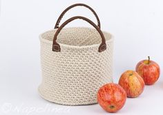 large crochet storage basket, basket with handles, natural, handmade