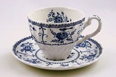 Vintage Johnson Bros Teacup and Saucer Indies Blue by APatriot, $20.00