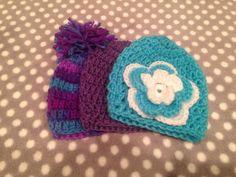 3 - newborn crochet hat combo.