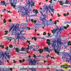 """Pink Hibiscus Spandex Fabric SALE 4 Way Stretch Lycra Knit By The Yard 58-60"""" Wide #fabric #sewing"""