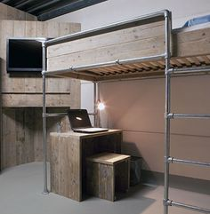 Loft Bed made with Kee Klamp fitting base.