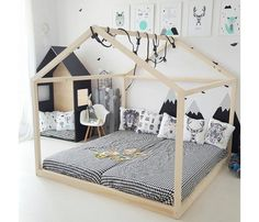 Large House Bed Two Single Bed Size, Double House Bed for Kids or Master Bedroom, Montessori Floor Bed image 0 Toddler Floor Bed, Toddler Rooms, Kids Bed On Floor, Montessori Toddler Bedroom, Toddler House Bed, Montessori Playroom, Montessori Materials, House Beds For Kids, Kid Beds